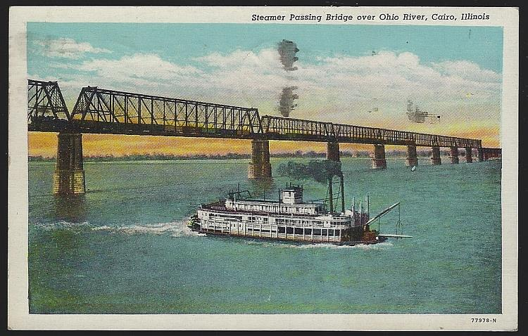 STEAMER PASSING BRIDGE OVER OHIO RIVER, CAIRO, ILLINOIS, Postcard