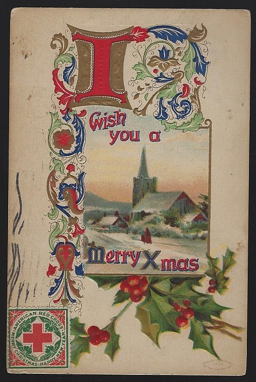 MERRY XMAS POSTCARD WITH SNOWY CHURCH, Postcard