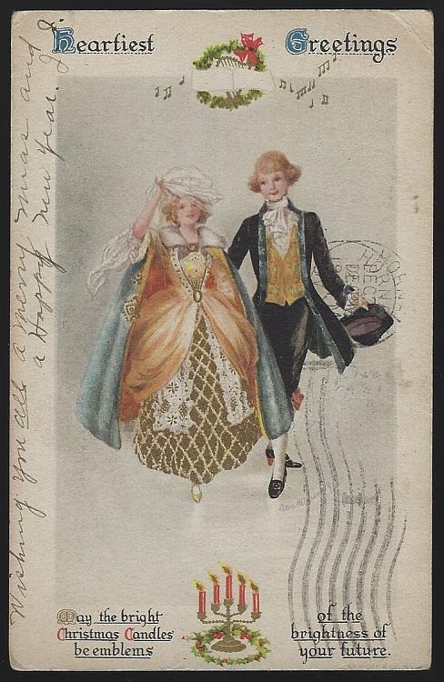 CHRISTMAS POSTCARD WITH COLONIAL COUPLE, Postcard