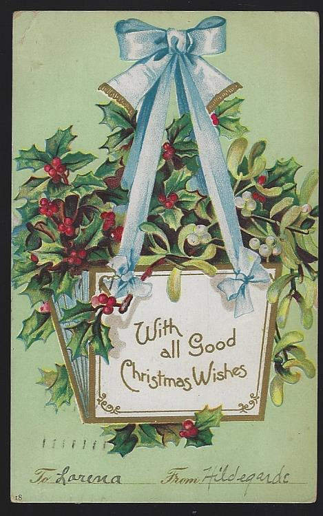 CHRISTMAS POSTCARD WITH HANGING BASKET OF HOLLY, Postcard