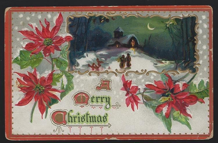 TUCK'S MERRY CHRISTMAS POSTCARD WITH SNOWY CHURCH AND POINSETTIAS, Postcard