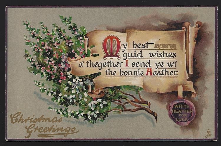 TUCK'S CHRISTMAS GREETINGS POSTCARD WITH HEATHER, Postcard