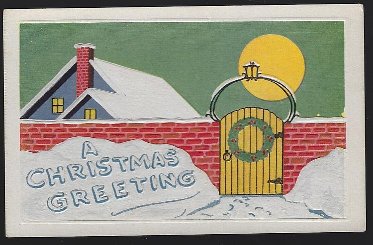 CHRISTMAS GREETING POSTCARD WITH SNOWY HOUSE AND FULL MOON, Postcard