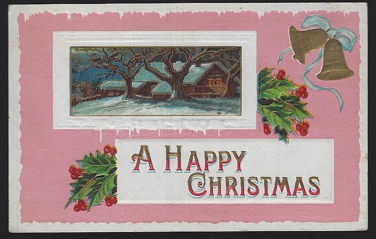HAPPY CHRISTMAS POSTCARD WITH SNOWY HOUSE, Postcard