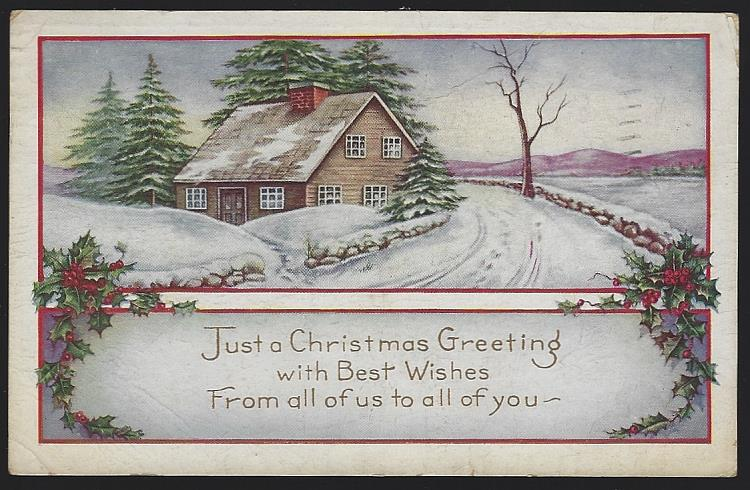 CHRISTMAS GREETING POSTCARD WITH SNOWY HOUSE, Postcard