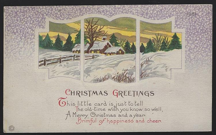CHRISTMAS GREETINGS POSTCARD WITH SNOWY LANDSCAPE AND HOUSE, Postcard