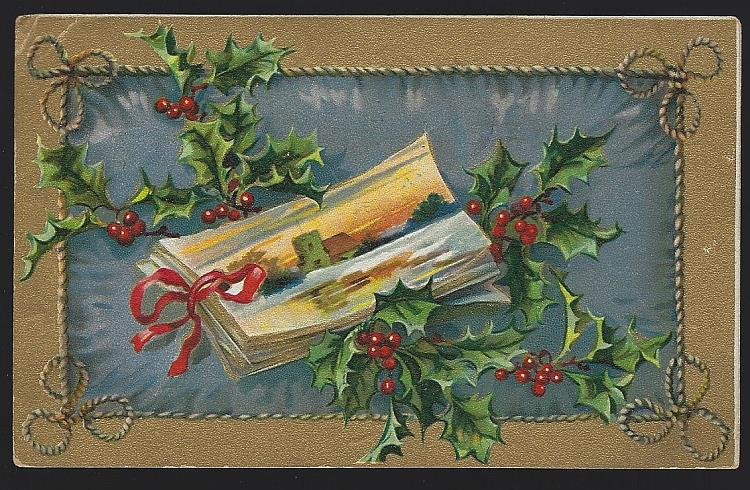 CHRISTMAS POSTCARD WITH BOOK AND HOLLY, Postcard