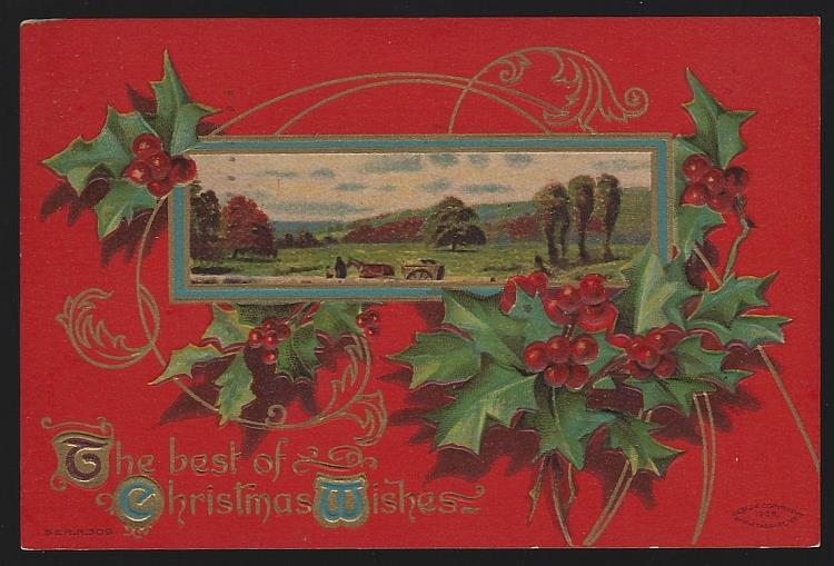 CHRISTMAS WISHES POSTCARD WITH LANDSCAPE AND HOLLY, Postcard