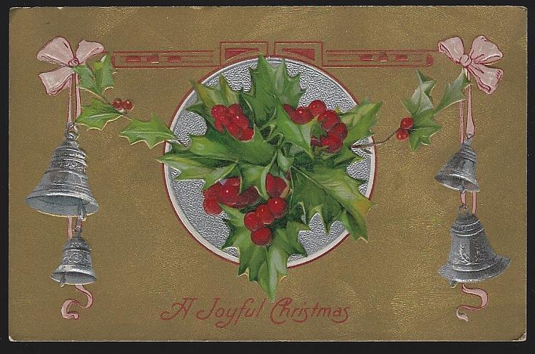 JOYFUL CHRISTMAS POSTCARD WITH BELLS AND HOLLY, Postcard