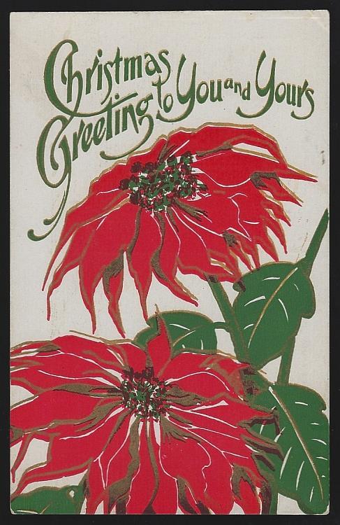 CHRISTMAS GREETING POSTCARD WITH POINSETTIAS, Postcard