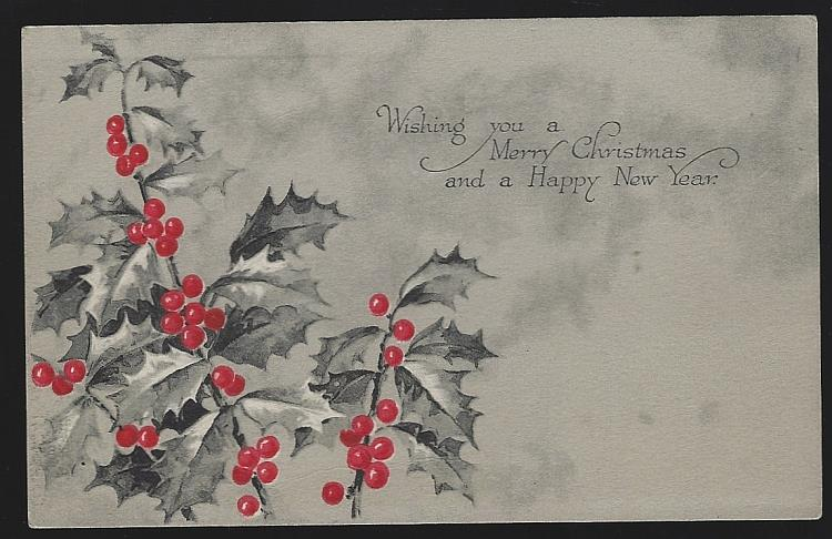 CHRISTMAS POSTCARD WITH HOLLY, Postcard