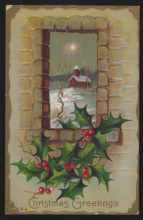 CHRISTMAS GREETINGS POSTCARD WITH SNOWY CHURCH FRAMED IN WINDOW, Postcard