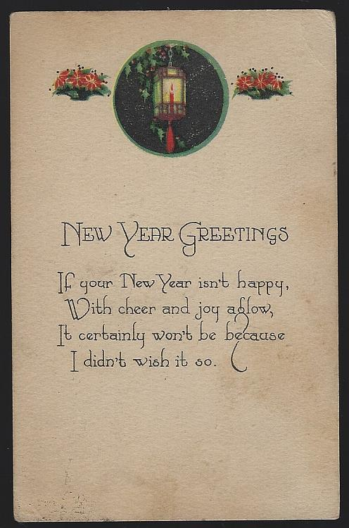 NEW YEAR GREETINGS POSTCARD WITH LANTERN, Postcard