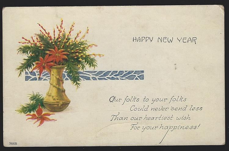 NEW YEAR POSTCARD WITH VASE FILLED WITH POINSETTIAS, Postcard
