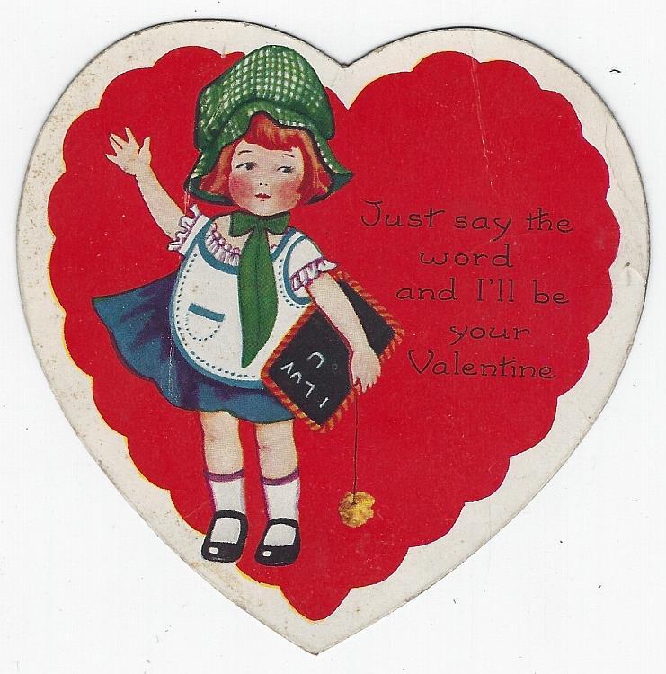 VINTAGE VALENTINE WITH LITTLE GIRL AND HER CHALK BOARD, Valentine