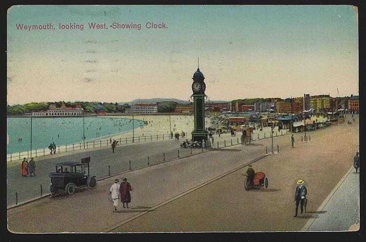 LOOKING WEST SHOWING CLOCK, WEYMOUTH, ENGLAND, Postcard