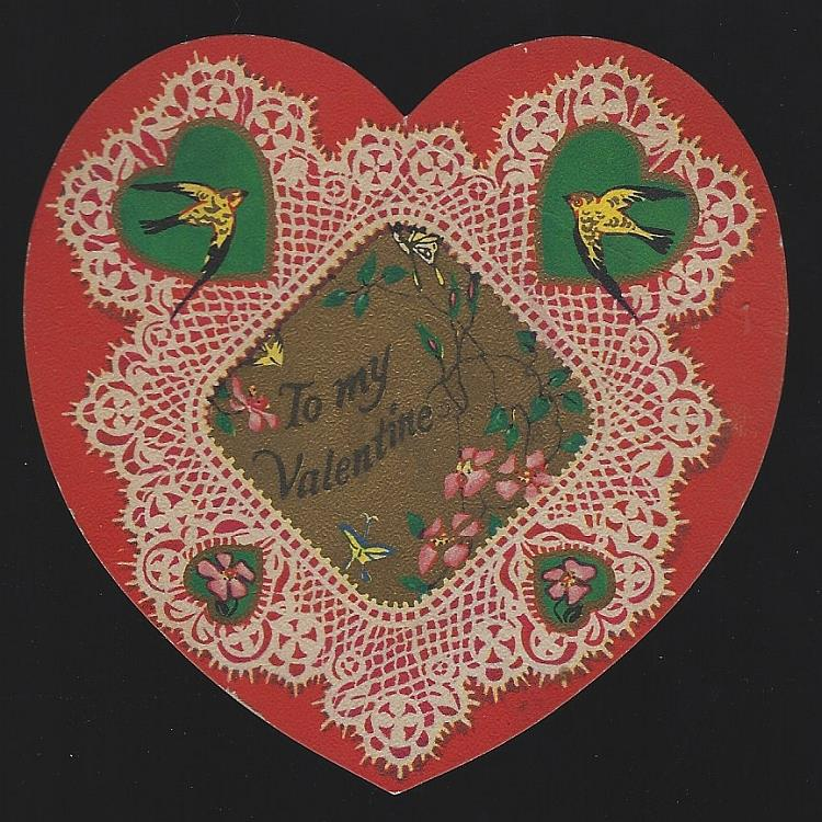 VINTAGE HEART SHAPED VALENTINE CARD WITH BIRDS, Valentine