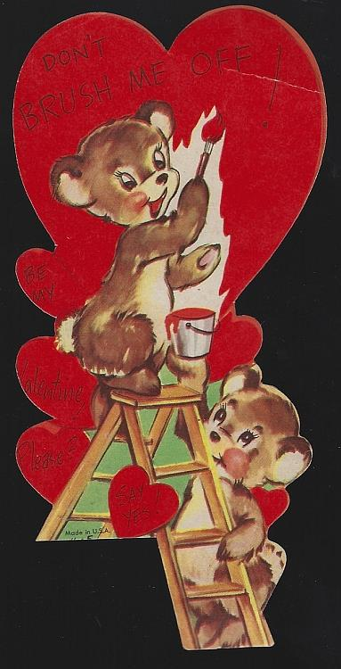 VINTAGE VALENTINE CARD WITH BEARS ON A LADDER PAINTING, Valentine