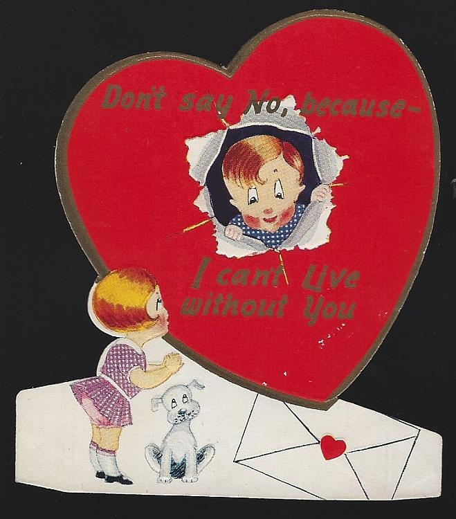 VINTAGE VALENTINE CARD WITH BOY IN HEART AND GIRL WITH DOG, Valentine