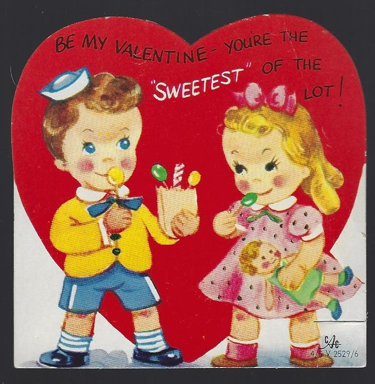 VINTAGE VALENTINE CARD WITH TWO CHILDREN EATING CANDY, Valentine