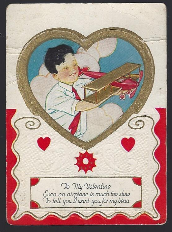 VINTAGE VALENTINE CARD WITH BOY AND HIS AIRPLANE, Valentine