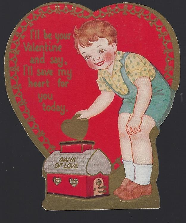 VINTAGE HEART SHAPED VALENTINE CARD WITH LITTLE BOY PUTTING HEART IN BANK, Valentine