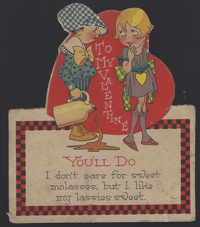 VINTAGE DIE CUT VALENTINE CARD WITH LITTLE BOY AND LITTLE GIRL, Valentine