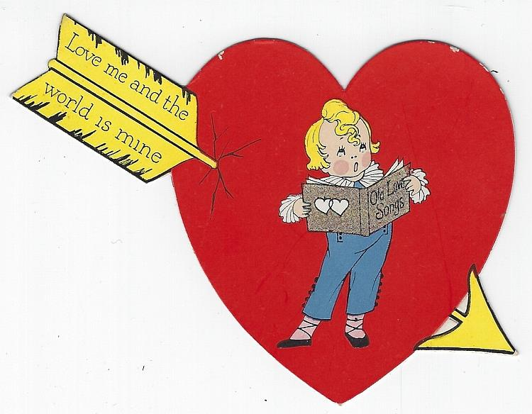 VINTAGE HEART SHAPED VALENTINE CARD WITH ARROW AND SINGING BOY, Valentine