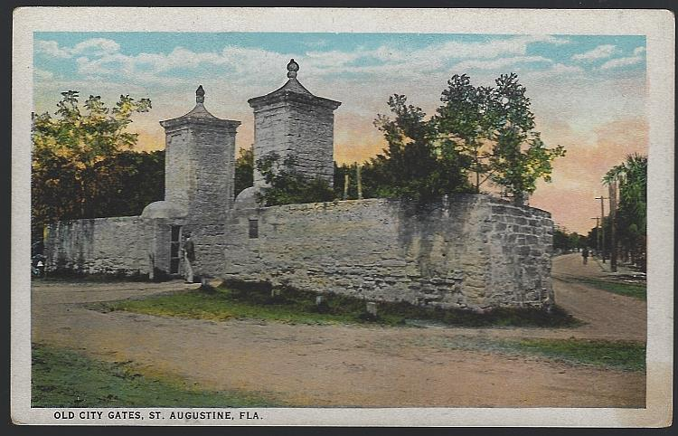 OLD CITY GATES, ST. AUGUSTINE, FLORIDA, Postcard