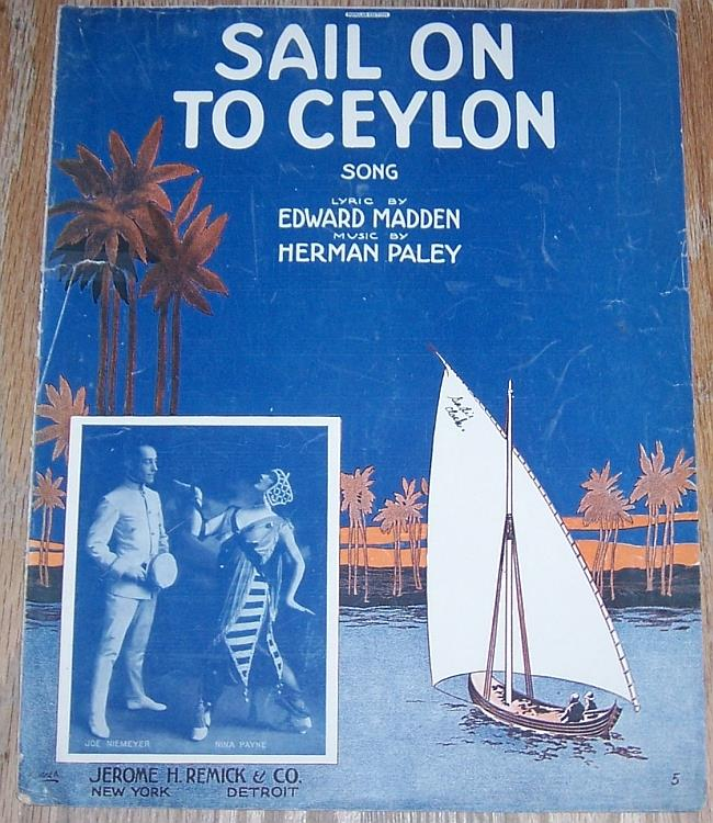 SAIL ON TO CEYLON SONG, Sheet Music