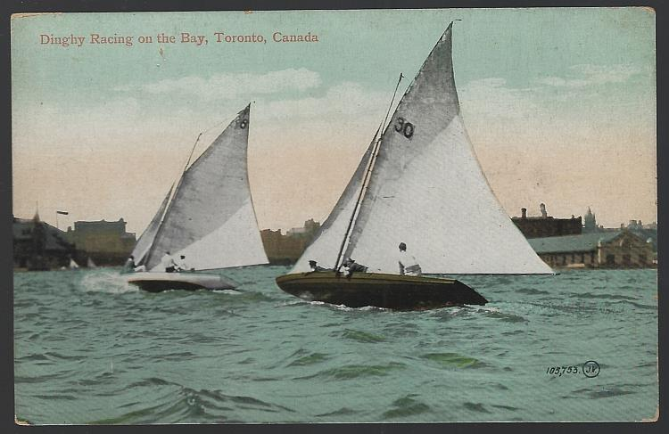 DINGHY RACING ON THE BAY, TORONTO, CANADA, Postcard