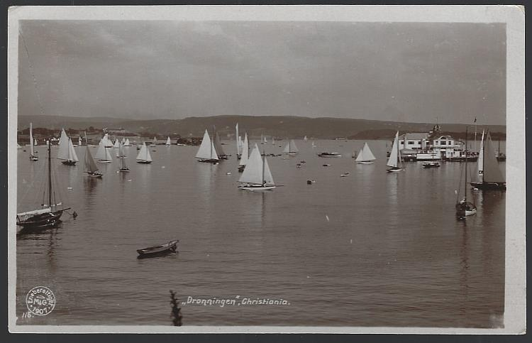 Image for REAL PHOTO POSTCARD SAILBOATS AT DRONNINGEN, CHRISTIANIA, NORWAY