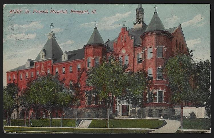 ST. FRANCIS HOSPITAL, FREEPORT, ILLINOIS, Postcard