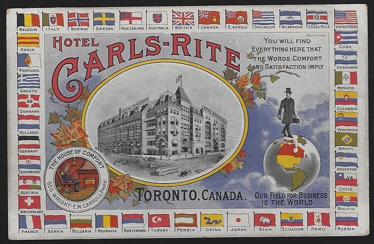HOTEL CARLS-RITE TORONTO, CANADA, Postcard