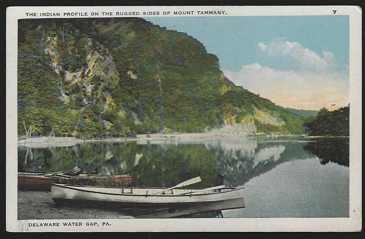 INDIAN PROFILE ON MOUNT TAMMANY, DELAWARE WATER GAP, PENNSYLVANIA, Postcard