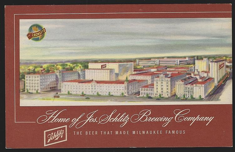 HOME OF JOS. SCHLITZ BREWING COMPANY, MILWAUKEE, WISCONSIN, Postcard