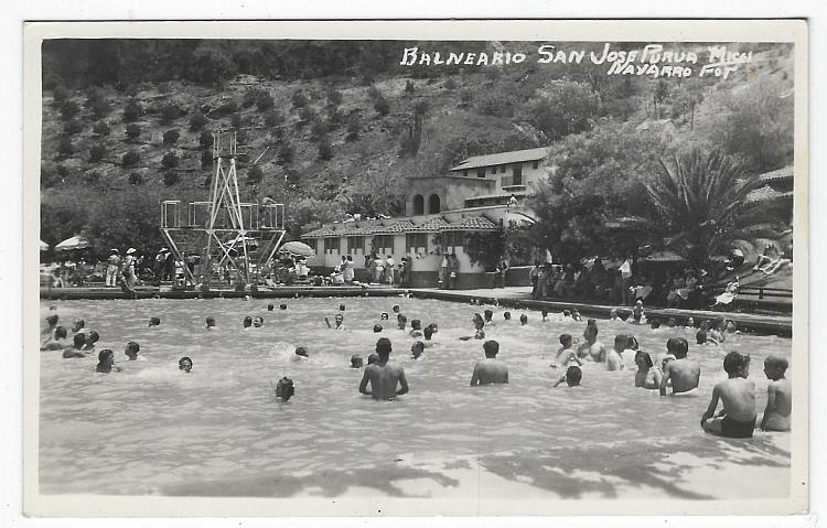 REAL PHOTO POSTCARD BALNEARIO DE SAN JOSE PURUA, MINERAL HOT SPRINGS SWIMMING POOL, MICHOACAN, MEXICO, Postcard