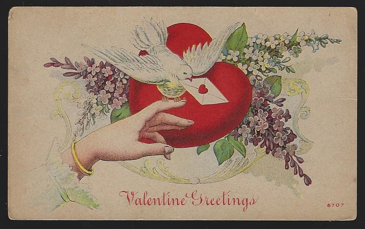 VALENTINE GREETINGS WITH HAND, DOVE, RED HEART AND FLOWERS, Postcard