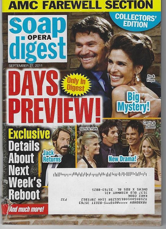 Image for SOAP OPERA DIGEST SEPTEMBER 27, 2011