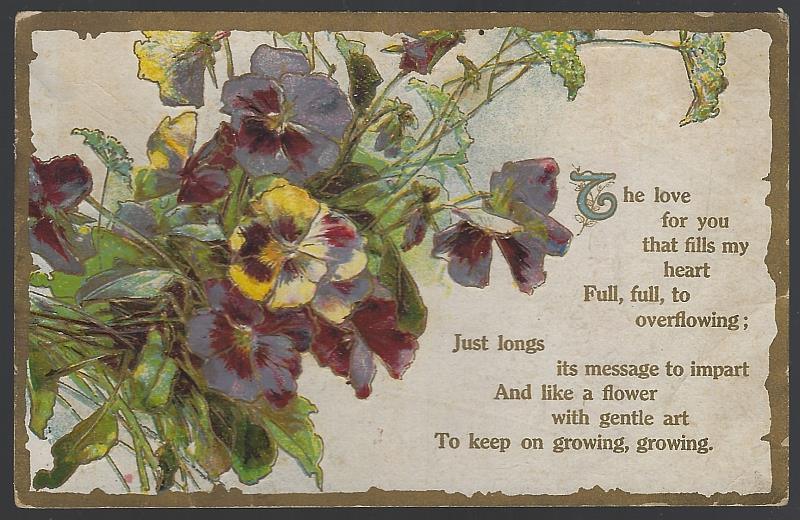 BOUQUET OF PANSIES THE LOVE FOR YOU, Postcard