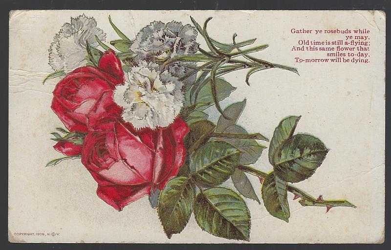 BOUQUET OF ROSES GATHER YE ROSEBUDS WHILE YE MAY, Postcard