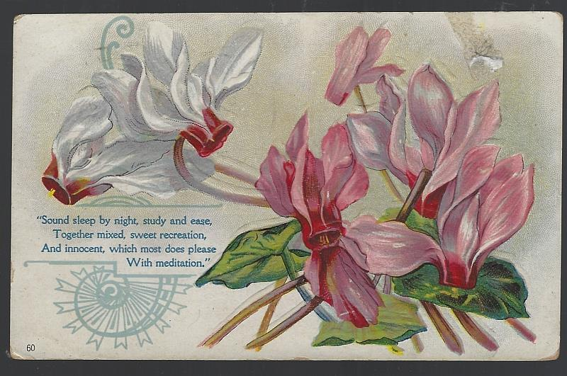 BOUQUET OF CYCLAMEN FLOWERS, SOUND SLEEP BY NIGHT,STUDY AND EASE, Postcard