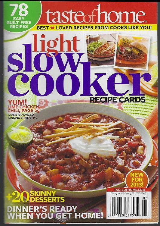 LIGHT SLOW COOKER RECIPE CARDS, Taste Of Home