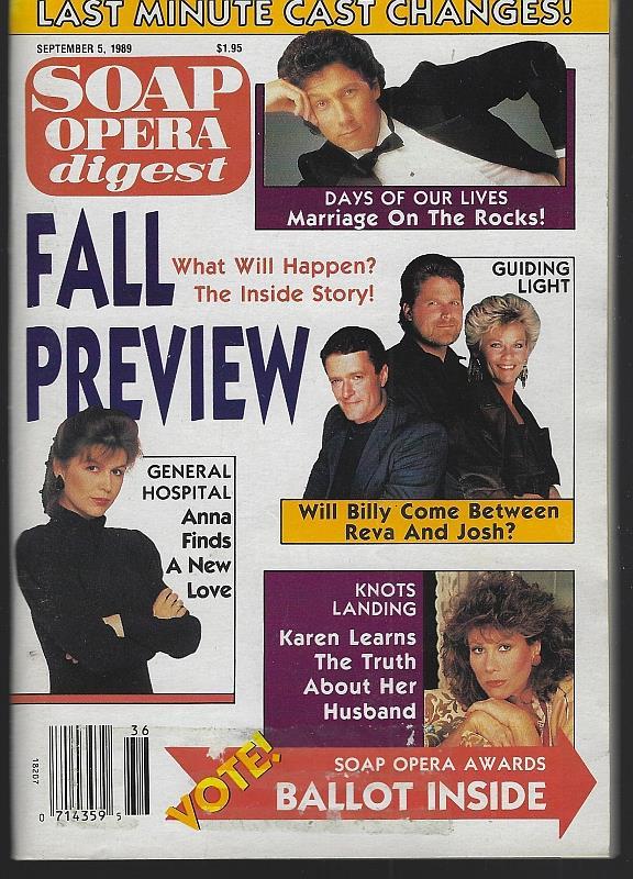 SOAP OPERA DIGEST - Soap Opera Digest September 5, 1989