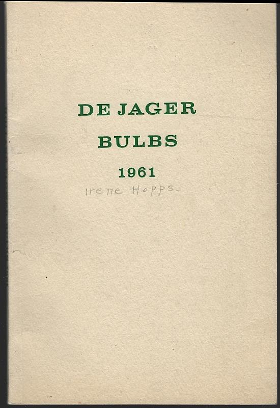 Image for DE JAGER BULBS 1961 CATALOG