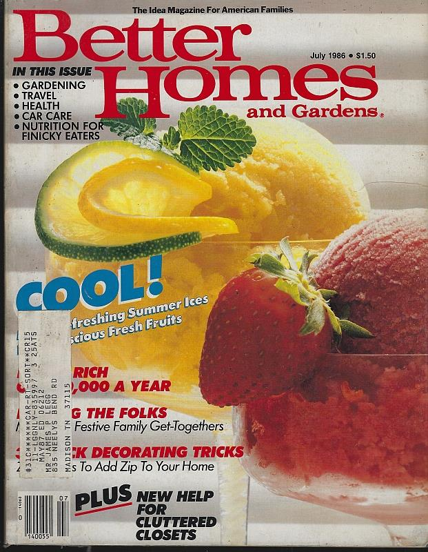 Image for BETTER HOMES AND GARDENS MAGAZINE JULY 1986