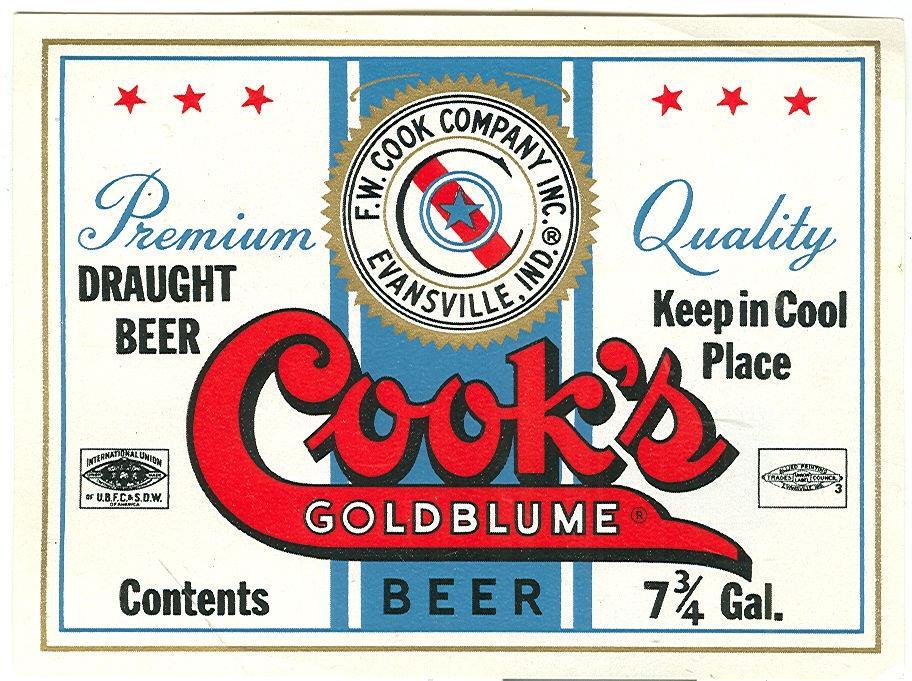 COOK'S GOLDBLUME BEER LABEL 7 3/4 GALLON, EVANSVILLE, INDIANA, Advertisement