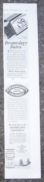 1916 LADIES HOME JOURNAL ADVERTISEMENT FOR DROMEDARY DATES AND COCOANUT, Advertisement