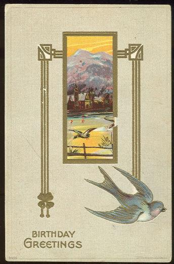 BIRTHDAY GREETINGS POSTCARD BLUE BIRD AND MOUNTAINS, Postcard