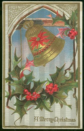 MERRY CHRISTMAS POSTCARD WITH HOLLY AND BELL, Postcard